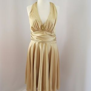 Cindy Gold Halter Dress with Shawl, Size: 2XL